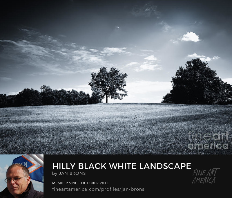 Hilly Black White Landscape - Art Online