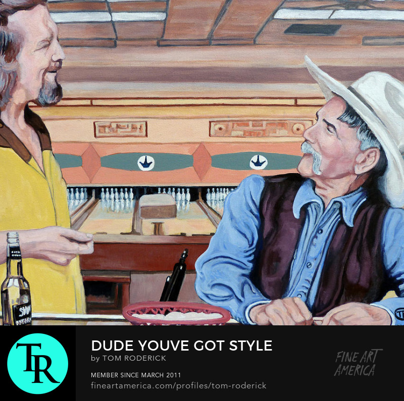 Portrait of The Dude and the stranger by Boulder artist Tom Roderick