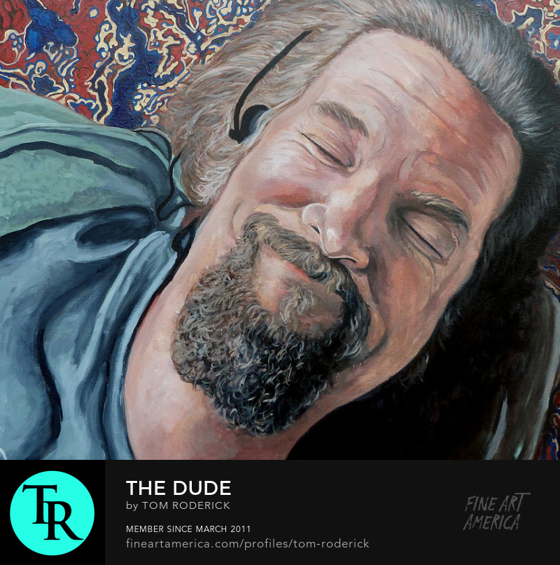 The Dude enjoying his new rug by Boulder portrait artist Tom Roderick