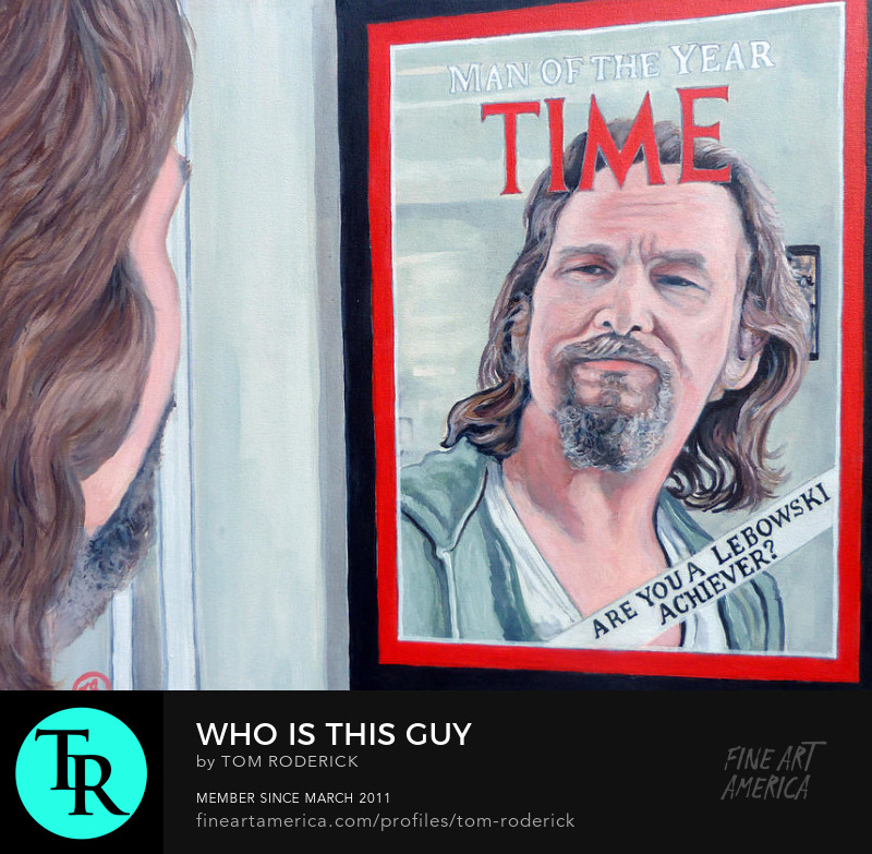 Portrait of Jeffery Lebowski man of the year by Boulder artist Tom Roderick