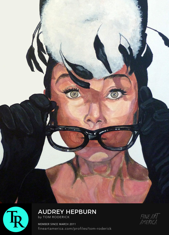 Portrait of Audrey Hepburn by Boulder artist Tom Roderick