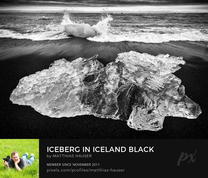 Iceberg in Iceland Black and White Art Print