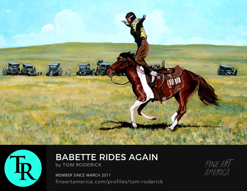 Babette riding a horse at the rodeo by Boulder artist Tom Roderick