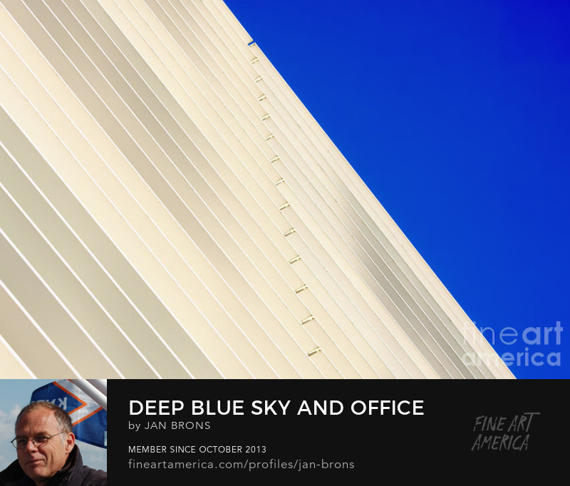 Deep Blue Sky and Office building wall - Photography Prints