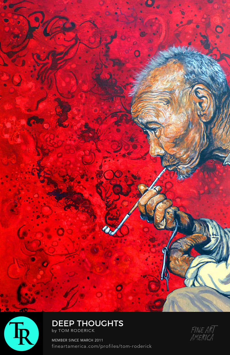 Old man smoking a pipe by Boulder portrait artist Tom Roderick