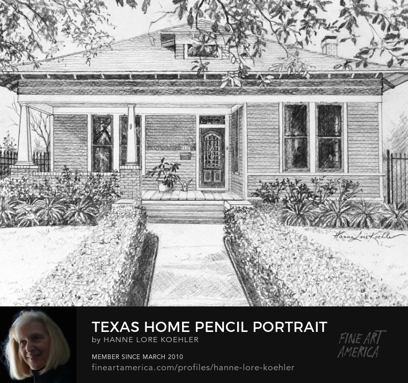 Texas House Portrait Pencil Drawing