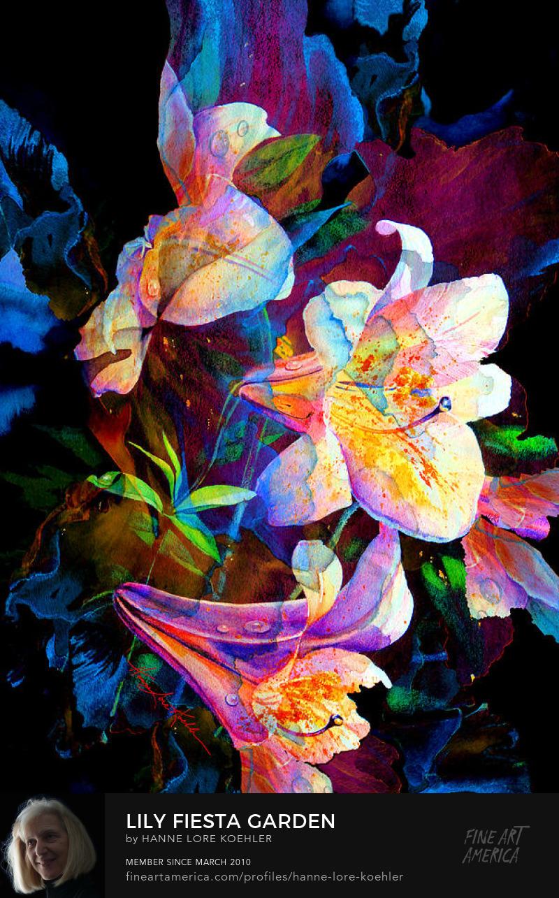 Impressionist Garden Lilies