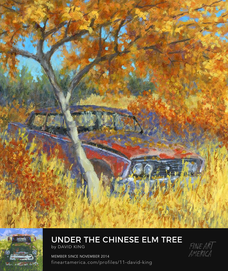 art painting automotive autumn fall season abandoned car
