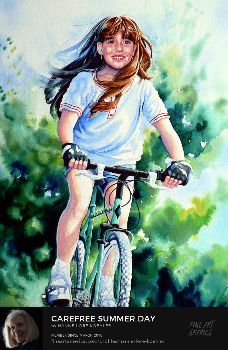 Girl Riding Bike Action Painting And Art Prints