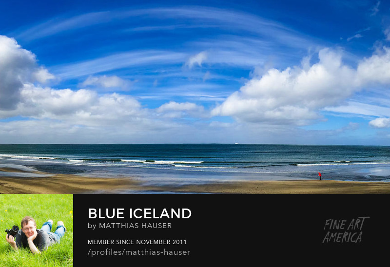 Wide blue sky with clouds in Iceland panorama photo