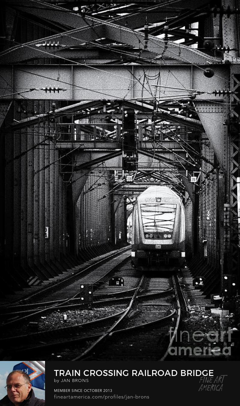 Train Crossing Railroad Bridge - Photography Prints