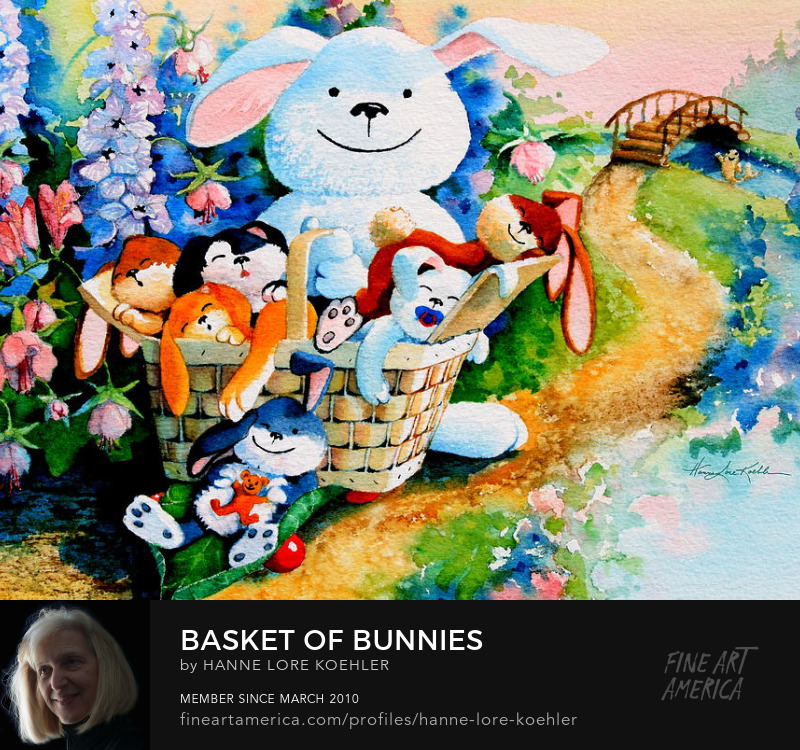 Basket Of Bunnies Painting nd Art Prints