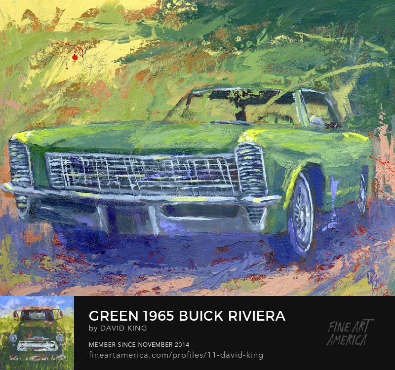 art painting automotive Buick Riviera classic car