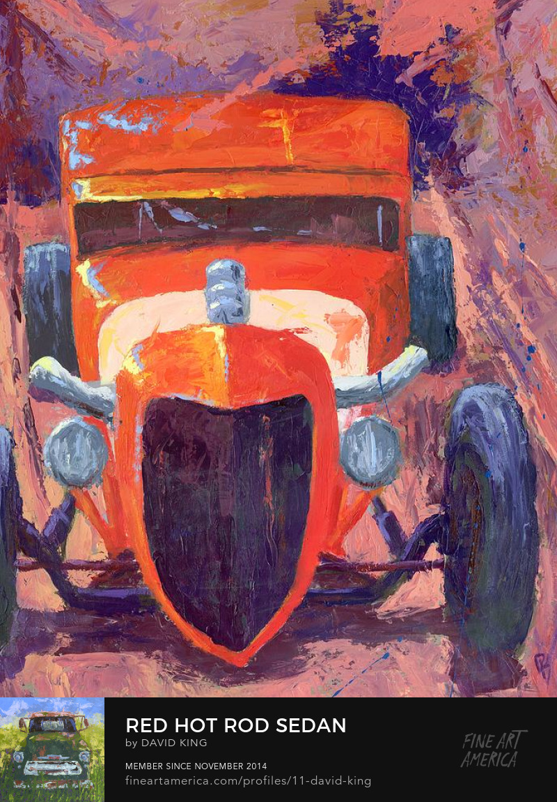 art painting automotive hot rod Ford sedan