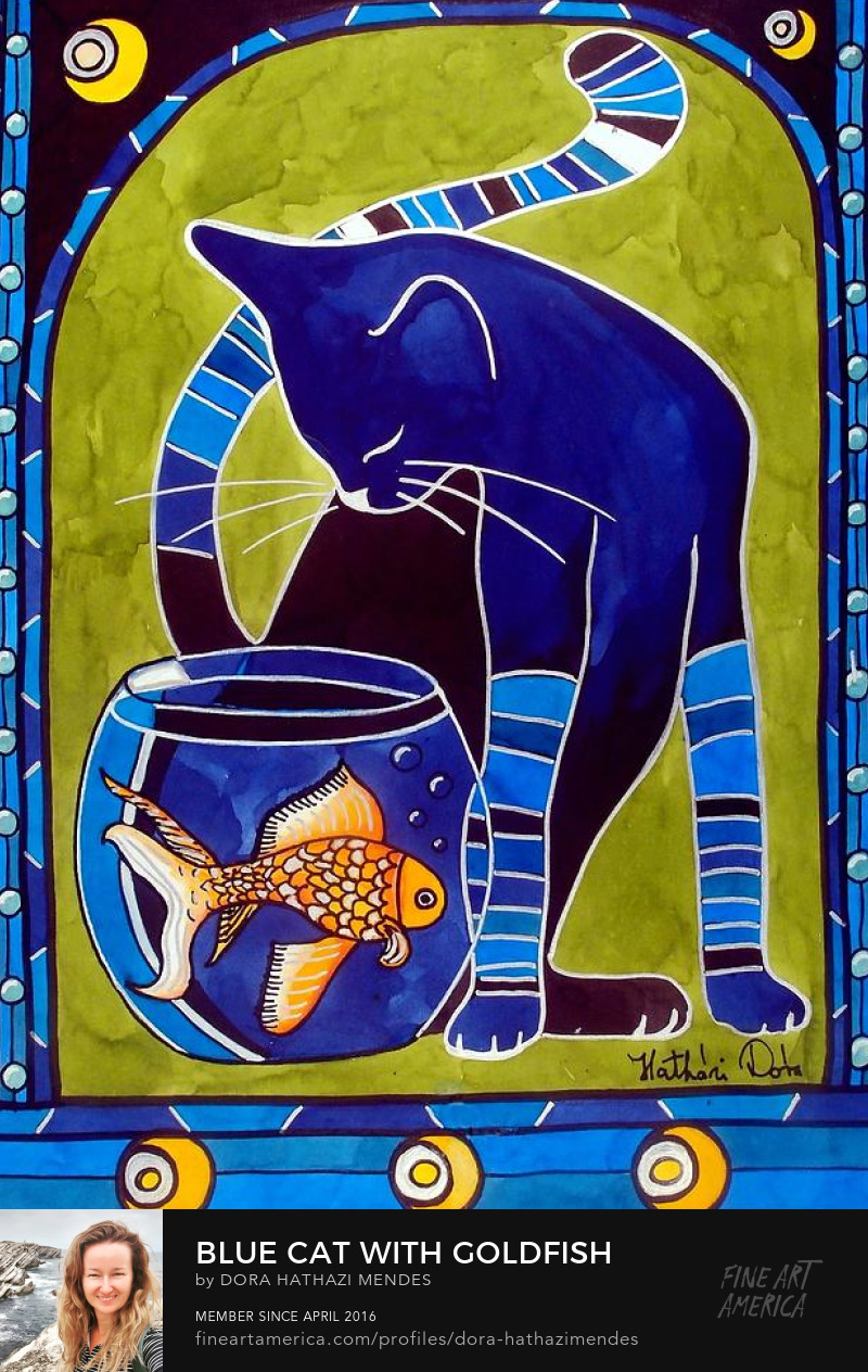 cat art blue cat with goldfish by dora hathazi mendes