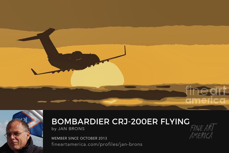 Bombardier CRJ-200ER flying sunset - Photography Prints