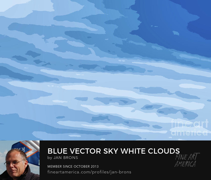 Blue vector sky white clouds - Art Prints