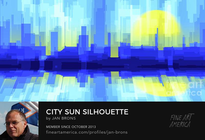 City sun silhouette- Art Prints