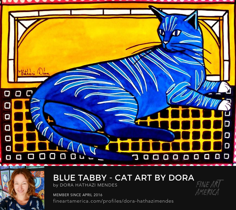 Cat Art Blue Tabby by Dora Hathazi Mendes