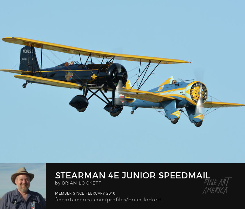 Stearman 4E Junior Speedmail NC663K and Boeing P-26 Pea Shooter N3378G at Chino, California on April 29, 2016