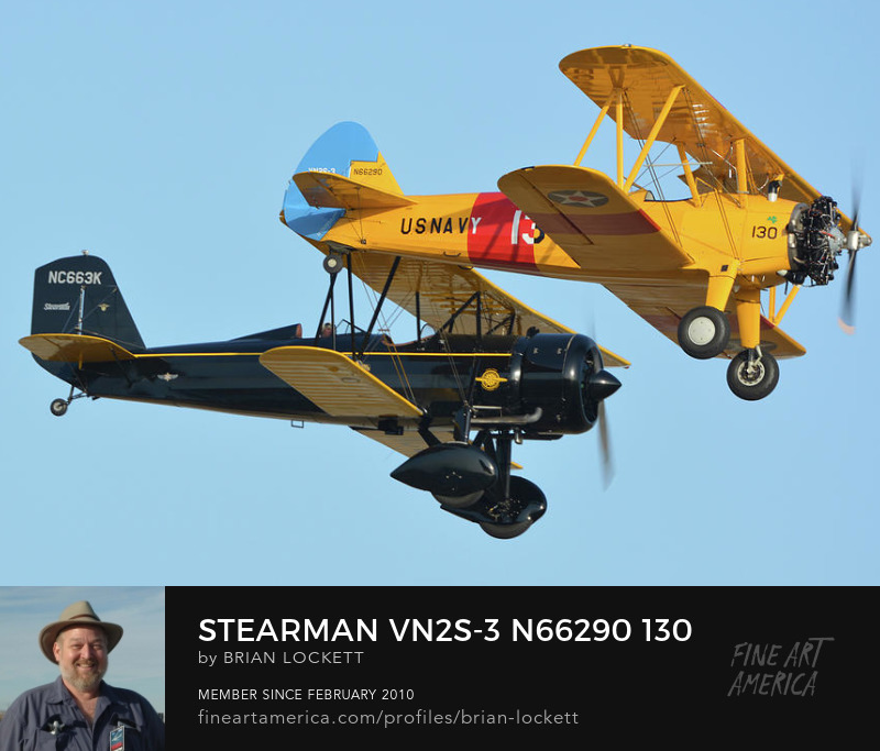 Stearman VN2S-3 N66290 130 and Stearman 4E Junior Speedmail NC663K at Chino, California on April 29, 2016. , 2016