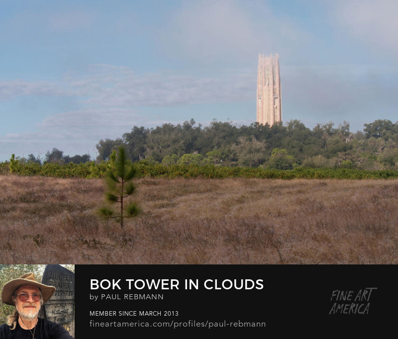 View online purchase options for Bok Tower in Clouds by Paul Rebmann