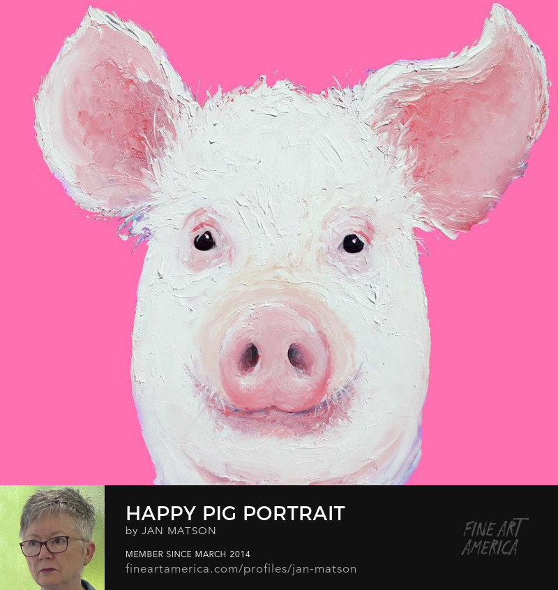 A thickly textured painting of a happy pig on a bright pink background.