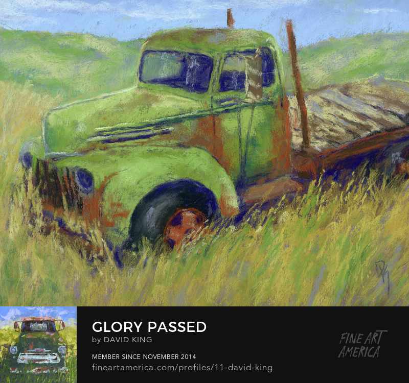art painting pastel truck abandoned old rust Ford derelict