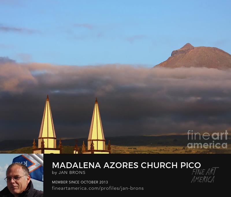 Madalena Azores church Pico volcano - Photography Prints