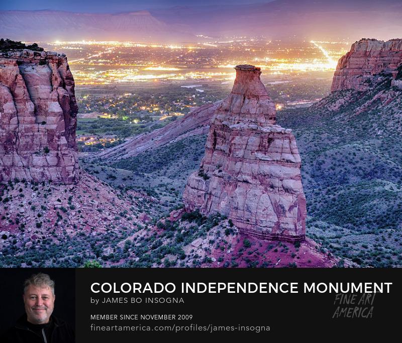 Colorado Independence Monument And City Lights Art Prints For Sale