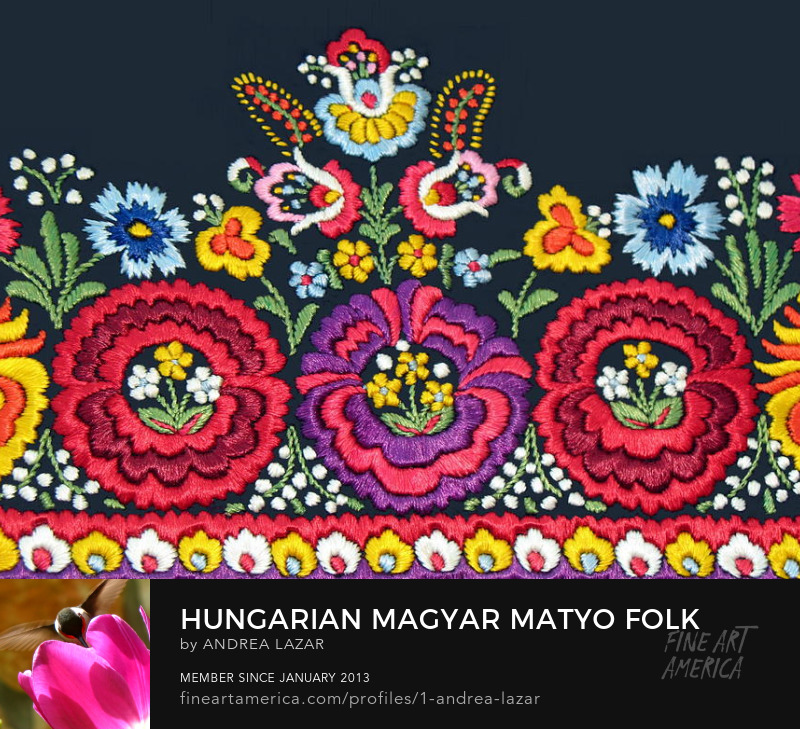 Hungarian Matyo Embroidered Apron detail by Andrea Lazar