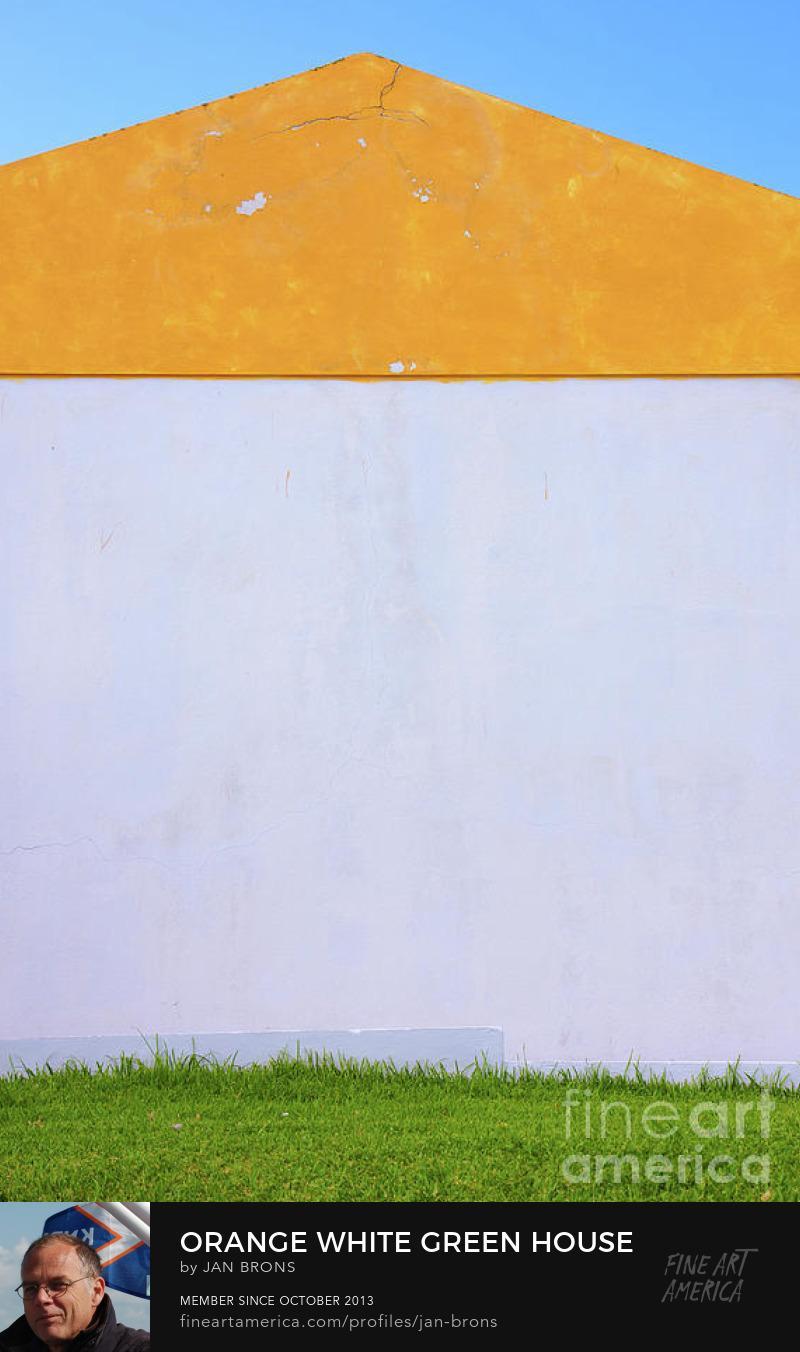 Orange White Green House Symmetry - Art Print