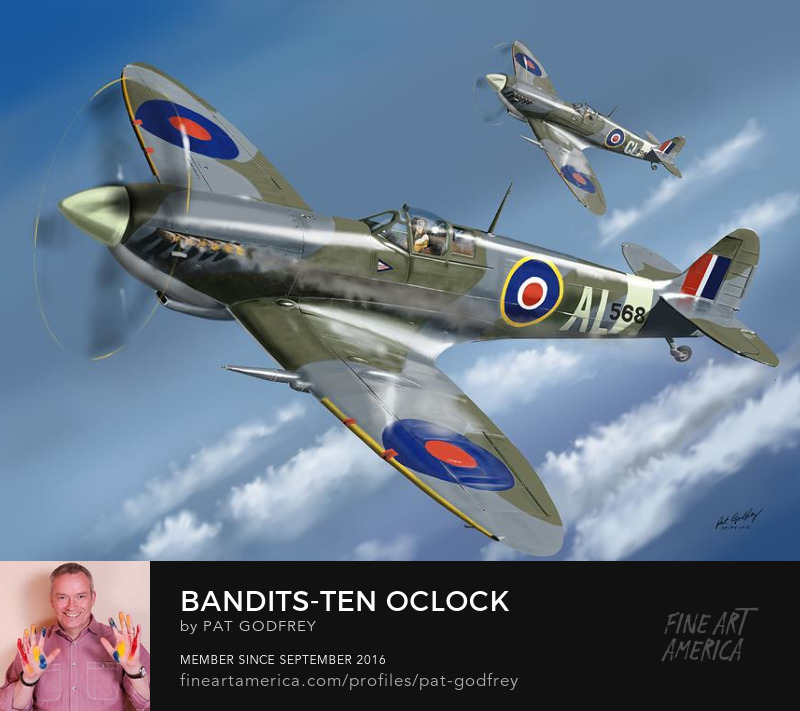 Painting of a Spitfire aircraft by Pat Godfrey