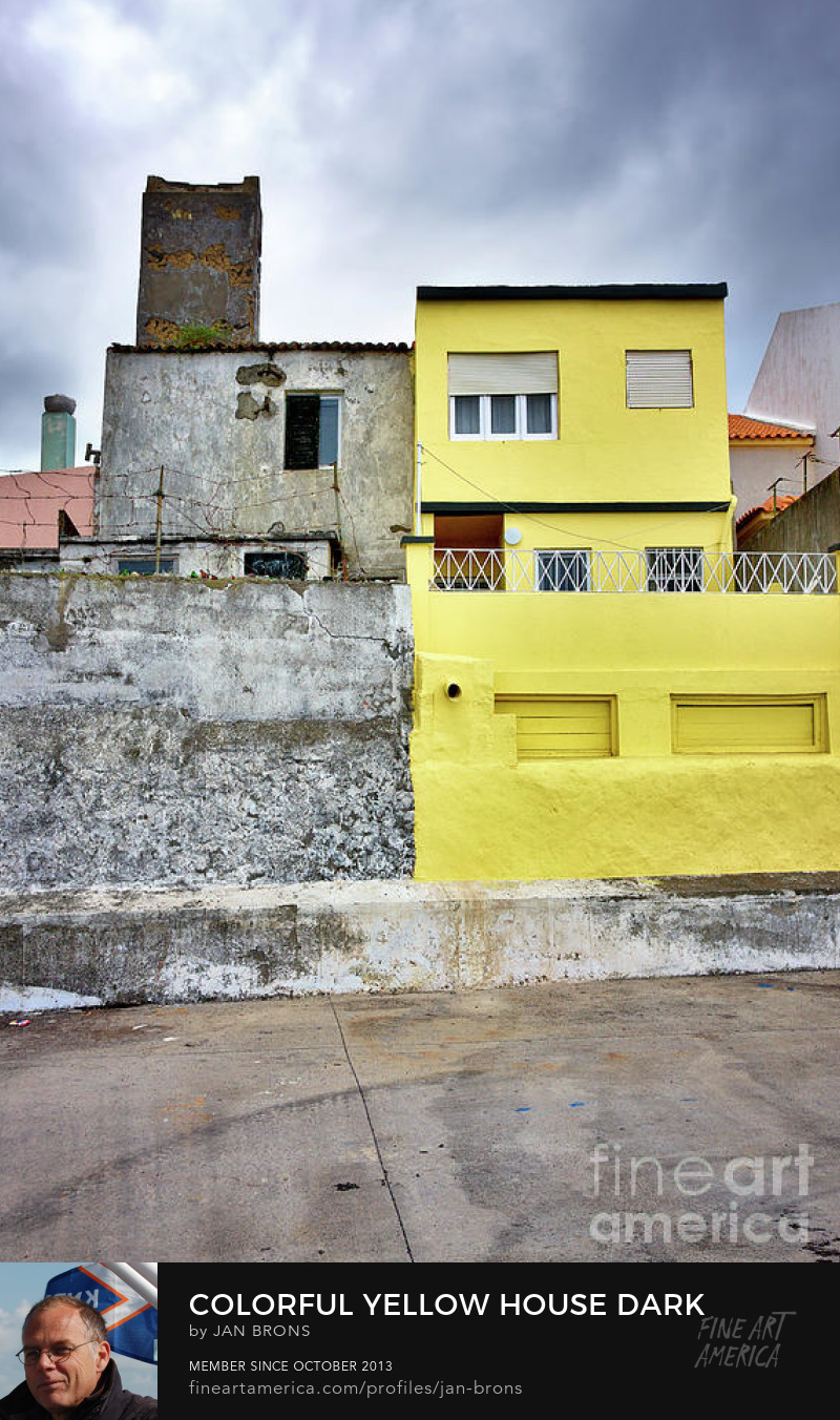 Colorful yellow house dark clouds - Art Online