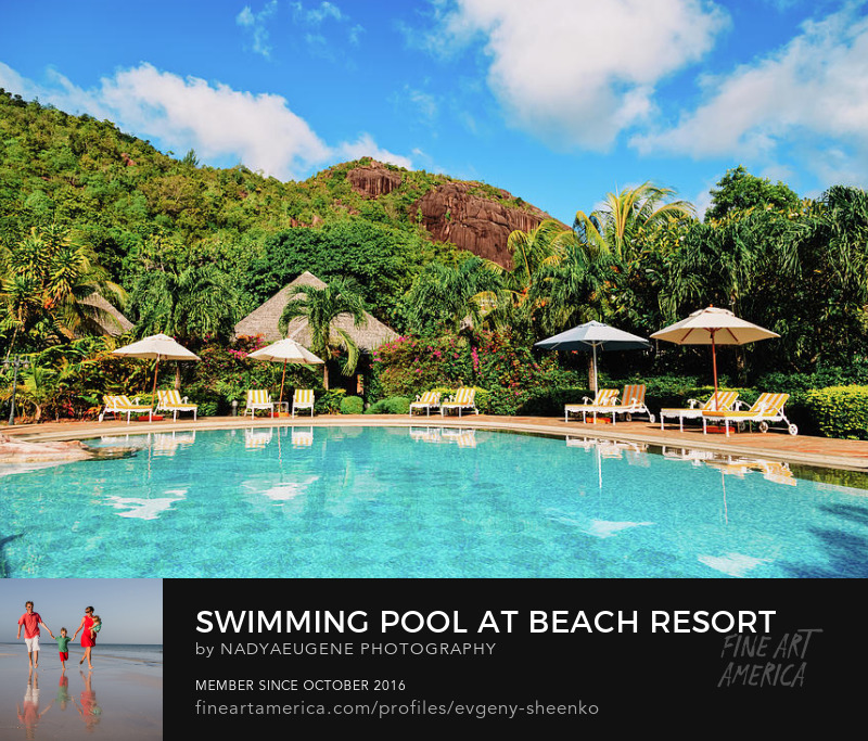 Swimming pool at a beach resort, Seychelles by Nadya&Eugene Photography
