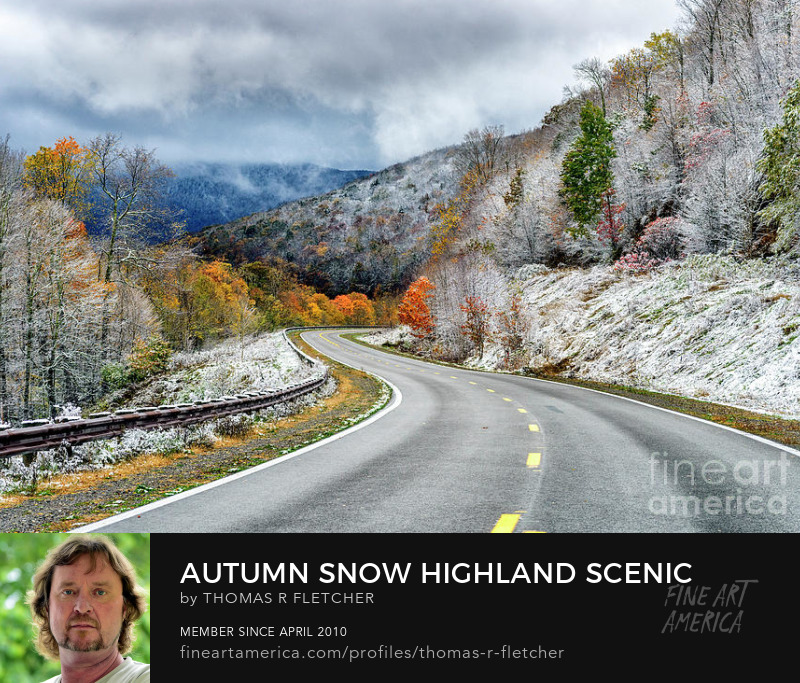Art Prints, Highland Scenic Highway, autumn snow, National Scenic Byway
