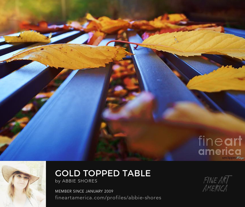 Golden autumn leaves top a slatted table
