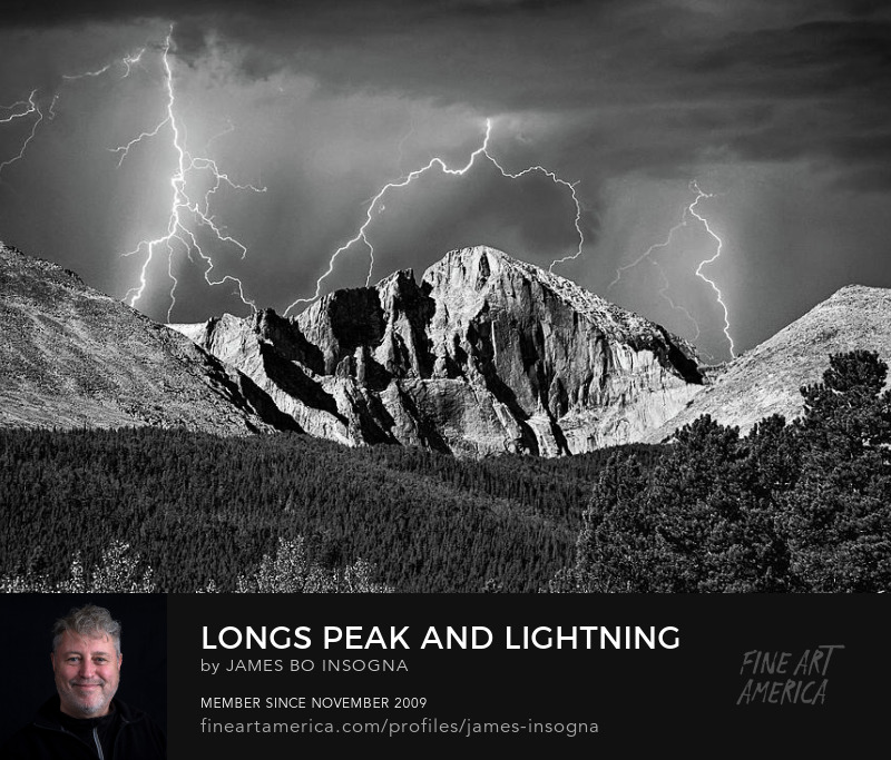 Colorado Longs Peak Lightning Thunderstorm in Black and White Photography Prints