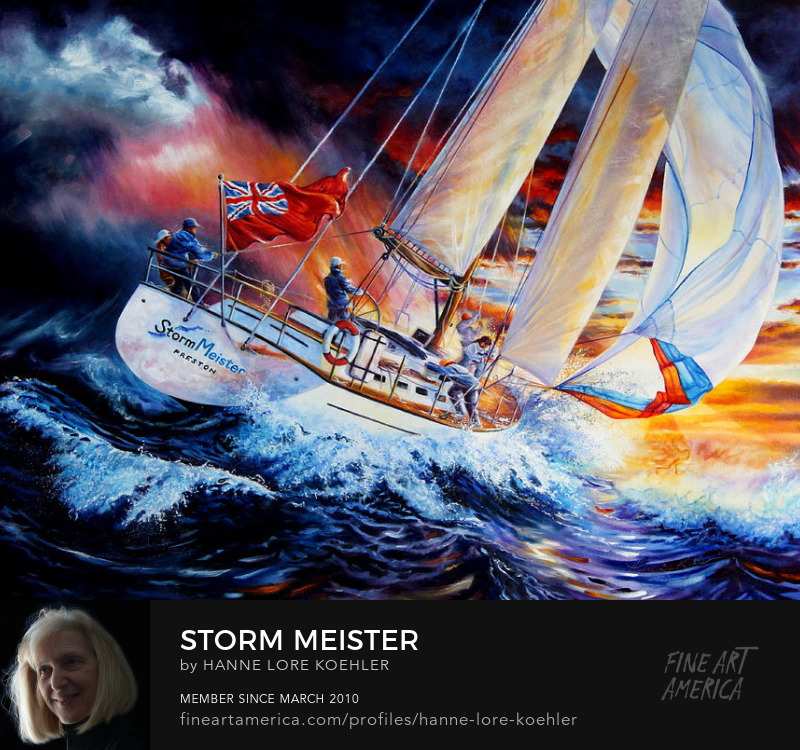 Sailboat On Stormy Seas Painting