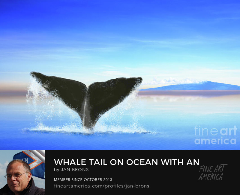 Whale tail on ocean with an island - Art Print