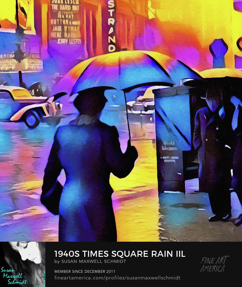 1940s Times Square Rain III Art Print by Susan Maxwell Schmidt