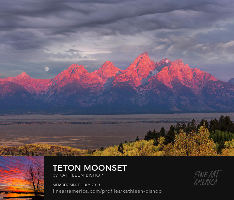 Teton Moonset by Kathleen Bishop Photography