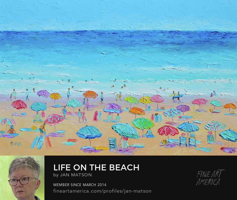 Oil painting of a crowded beach full of umbrellas and people relaxing, strolling and swimming.
