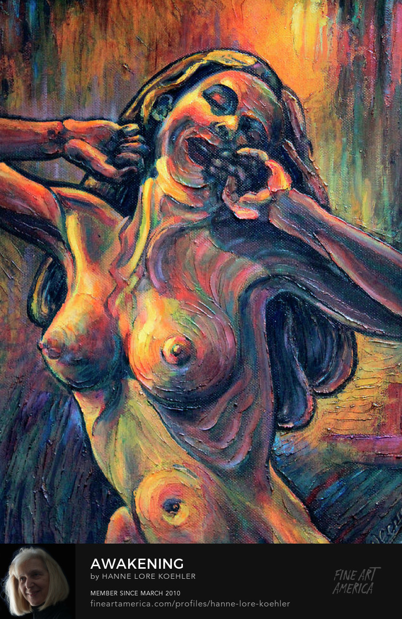 Art Prints Of Nude Woman Stretching