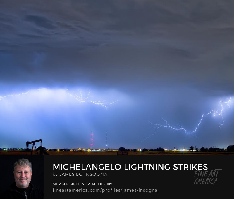 Michelangelo Lightning Strikes Oil Art Prints