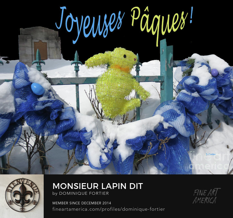 """Monsieur Lapin dit"" is a photograph by Dominique Fortier which was uploaded on March 3rd, 2017. Titre situé à l'endos (verso) de la carte. Texte au recto de la carte : Joyeuses Pâques. Original photography partly worked digitally. I shot this Easter Bunny photo in one of the oldest streets of Quebec city (Canada), Rue Sous-le-Fort Street, during Winter, after a snowfall in the Easter time. I am always delighted to see the streets and city decorations related to the big events of the year calendar. Individuals, storekeepers, governmental touristic departments vie to outdo each other in creativity. The English version of this work is entitled Mister Bunny Says ""Happy Easter!"". Dominique Fortier has created this artwork suitable for 7"" x 5"" Greeting Cards and Prints up to 60.000"" x 45.000"". Buy your iPhone or Samsung Galaxy case as well as BEACH TOWELS and other apparels featuring this art at: http://dominique-fortier.pixels.com/ Copyright Dominique Fortier, 2017. All rights reserved. Featured on the FAA Homepage of: ""Imagination-Artistry-Creativity"" (03/06/2017) ""Artists Cards Fine Art Greeting Cards"" (03/05/2017) ""Artists Without Borders"" (03/05/2017) ""HDR Photography"" (03/04/2017) ""Images That Excite You!"" (03/04/2017) ""Pictures for Present"" (03/04/2017) Thanks to the group hosts for their encouragement and support. carte tout en français. Buy here on this fineartamerica page, or shop and buy more of my products like round beach towels, beach towels, beach sheets, weekender tote bags, cary-all pouches, portable battery chargers etc., at: dominique-fortier.pixels.com. For Canadian and Quebec customers: There is a Print-On-Demand Manufacturing Location in TORONTO, Canada, that delivers the following products (prints, posters, canvas prints, framed prints) throughout Canada, so you save on shipping costs (you see your order in Canadian money), and it speeds up delivery times. To Quebec and/or Francophone customers/aficionados/boutique owners GREETING CARD BUYERS/RETAILERS: Almost all of my artworks come bilingual in the following format: French Title / English Title (the actual 'Artwork Name' that will appear printed in bold face at the back of each Greeting Card). The exact correctly spelled/written title in French, that is WITHOUT CAPS ALL OVER (e.g. articles, etc.), can be seen under the thumbnails in the 'Images' tab/section. So don't hesitate to buy and offer my cards, as they are FREE of mistakes (I am a French Editor, and I worked several years in a bilingual publishing environment (English-French / French-English) as an in-house French Editor at the Canadian Museum of History (former Canadian Museum of Civilization) - the most visited museum in Canada -, located in the Ottawa region, CANADA). Copyright: All rights reserved, 2014 THE FINE ART AMERICA WATERMARK WILL NOT APPEAR ON ANY PURCHASED PRODUCT. Welcome on my page. I am marvelled at the smallest beautiful thing I see. First, my eyes see, simply. Then it progresses (sometimes quickly, sometimes slowly) deeply into my soul, touches me, fills me with wonder, and makes me react. It creates memories and feelings that make my life happy. I began several years ago to paint watercolor, this medium being convenient while travelling, as well as shooting photos. My sites: To see, shop and buy my extra products like round beach towels, beach towels, beach sheets, weekender tote bags, cary-all pouches, portable battery chargers, go to: dominique-fortier.pixels.com http://www.revisionpro.ca/blogue Follow me on Twitter: https://twitter.com/LautLautre Follow me on Pinterest: https://www.pinterest.com/ImpaLautre/ Copyright Notice: All images produced by the artist are original, published, copyrighted, and protected by U.S. and international copyright laws, all rights reserved. No image is or should be part of public domain. The images may not be copied, reproduced, manipulated or used in any way, without written permission of (copyright) Dominique Fortier. Any unauthorized usage will be prosecuted to the full extent of U.S. Copyright Law. Please ask permission before using or recreating my work as all is under the guidance of a legal advisor. No image is from a royalty free website or file. Any original image on this website obtained from other artists/photographers meets or exceeds 100 years and has been given proper credit to showcase their talent. Photograph - Photography + Digital Work"