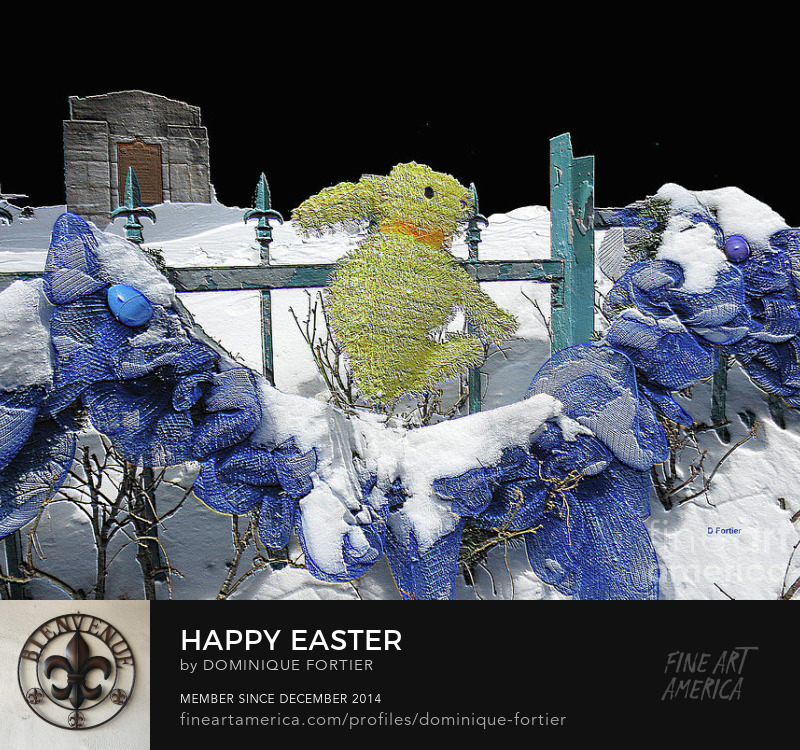 Photography Prints. Reproductions imprimées à Toronto = coût de transport réduit; easter, easter bunny, green bunny, animal, blue ribbon, ribbon, garland, fence, fleur-de-lis post head, lily flower post top, snow, fresh snow, eggs, easter eggs, rabbit, hare, spring, springtime, easter decoration, easter colors, symbol, purple egg, blue egg, feeling of softness, feeling of tenderness and affection, pet, petting, petting animal, wish to pet, for kids, for children, quebec city, lower town, sous-le-fort street, canada, greeting card, happy easter, black background, coffee mug, Easter card, digital work, digital art, digital; mots-clics pour le Canada : #FAA #art #prints #PrintsShippingFromToronto #PrintsPrintedInCanada #LowerCostShipping #Canada #PrintsPrintedInCanadaAndShippedFromToronto;