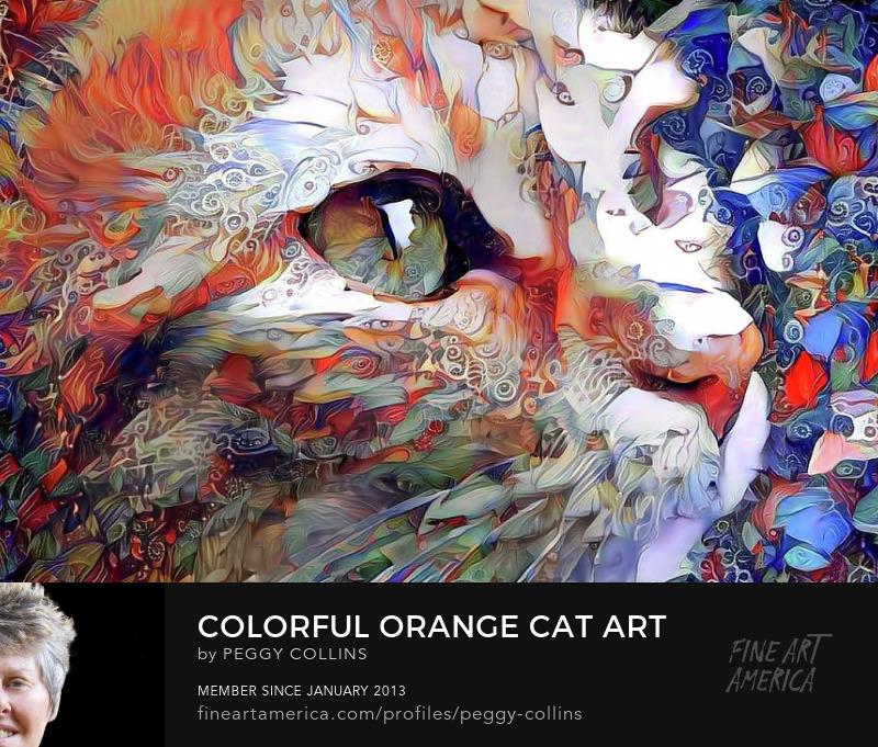 colorful orange cat art