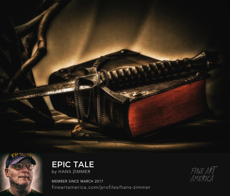 Epic tale by hans zimmer, book, dagger, chain and ring combined to one epic image