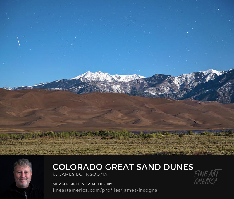 Great Sand Dunes With A Falling Star Art Prints
